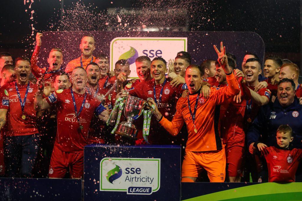 Image of Shelbourne Football club celebrating their league winning season in 2019