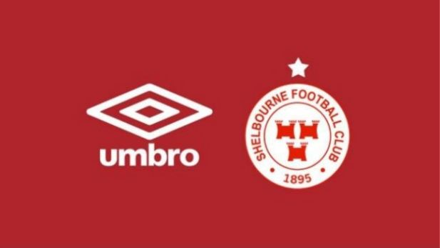 A graphic showing the partnership of Umbro with Shelbourne FC.
