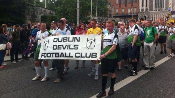 Dublin Devils walking in a parade.