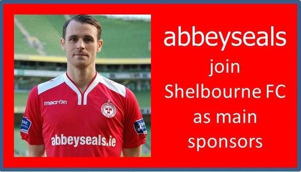 A graphic of abbeyseals being the main sponsor of Shelbourne FC in 2016.