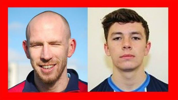 Portraits of Shelbourne FC football players Alan and Byrne Jackson Ryan