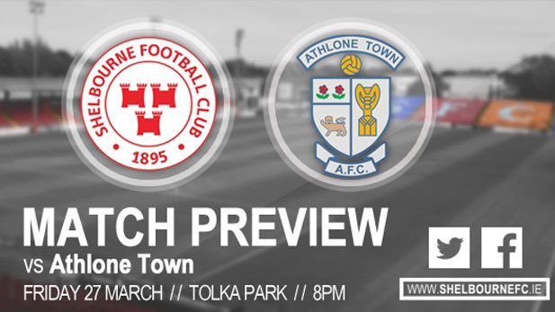 A graphic of Shelbourne FC vs Athlone Town match preview.