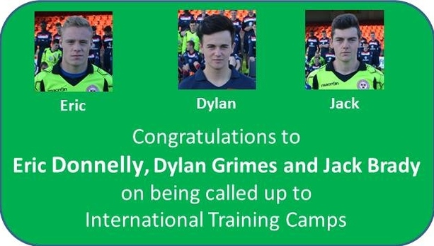 A graphic of Shelbourne congratulating three players for being selected in international camps.
