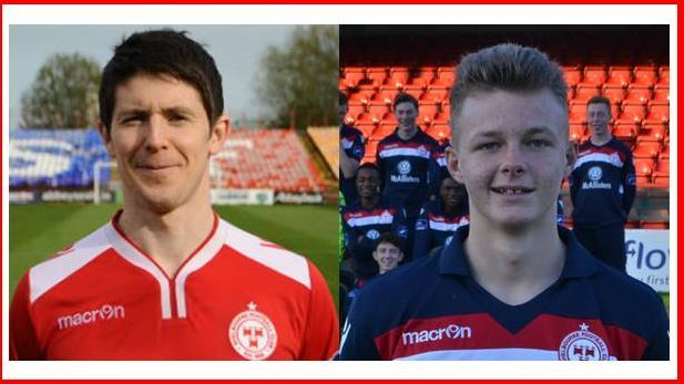 Portraits showing football players Aaron Ashe and Aidan Collins on the football pitch