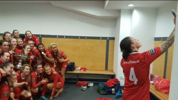 Shelbourne women celebrate cup victory with a selfie