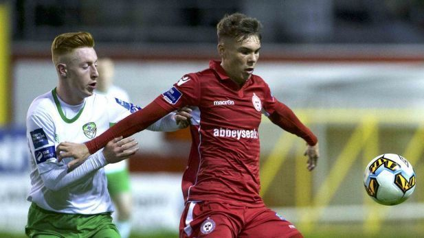 An image of Dayle Rooney playing for Shelbourne FC.