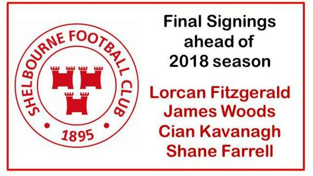 Shelbourne football club's logo along with names Lorcan Fitzgerald, James Woods, Cian Kavanagh and Shane Farrell written in the corner.