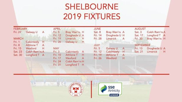 Shelbourne FC fixtures for SSE Airtricity league
