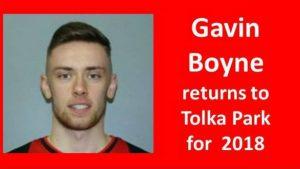 Gavin Boyne returns to Tolka Park for 2018