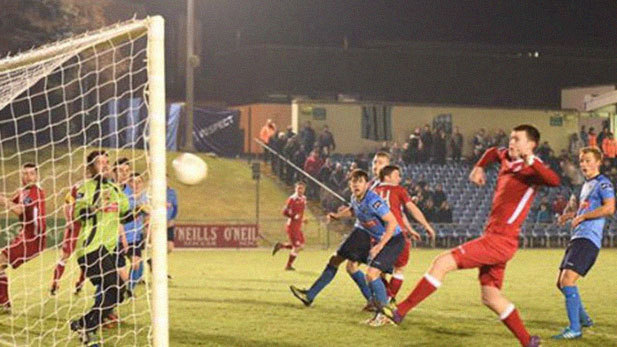 An image of Sean Heaney scoring a goal for Shelbourne FC.