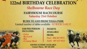 Shelbourne Raceday on Sat, Oct 21st. : Final Bookings and Payments at Saturday's game, please!