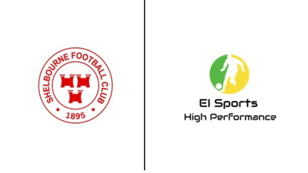 Logos of Shelborne FC and EI Sports