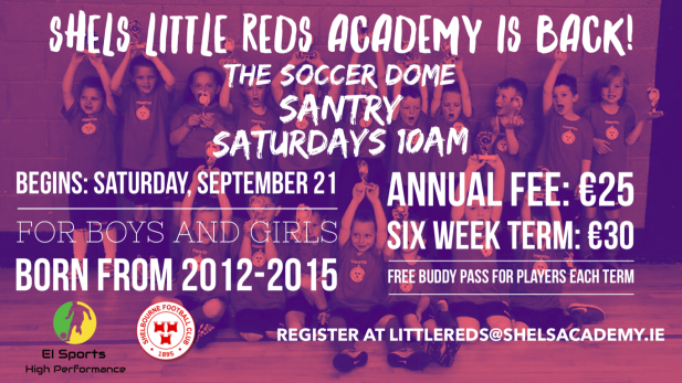 image pro ting the return of Shels Little Reds academy open on Saturdays at 10am