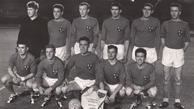 Shelbourne FC football team group photo in 1963 during the Barcelona Winner's Cup