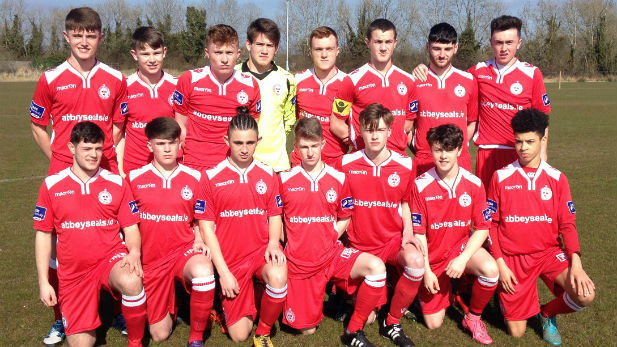 Shelbourne FC's Under 17 team portrait on the pitch
