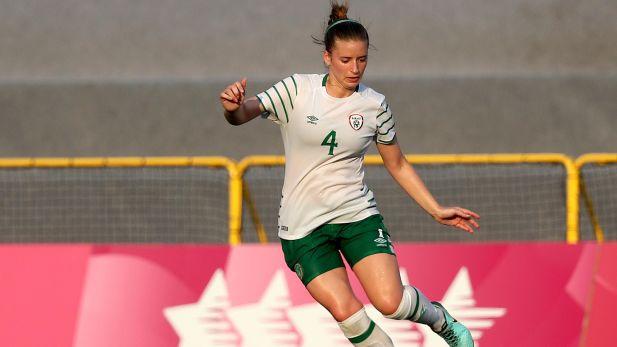 Chloe Mustaki in action for Irelands womens team