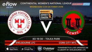 Shelbourne Ladies v Cork City WFC : Tolka Park – Wed – 7.30pm