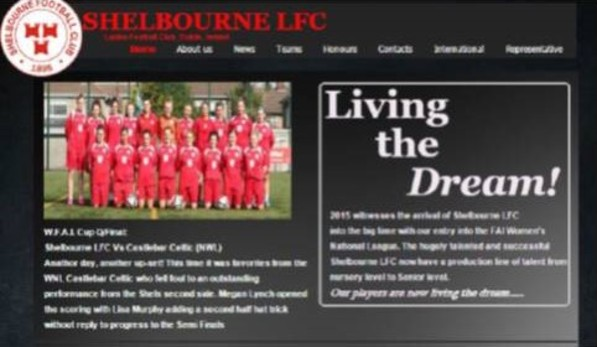 An image of the Shelbourne FC ladies website.