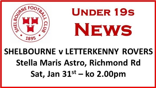 A graphic of Shelbourne FC vs Letterkenny Rover information.