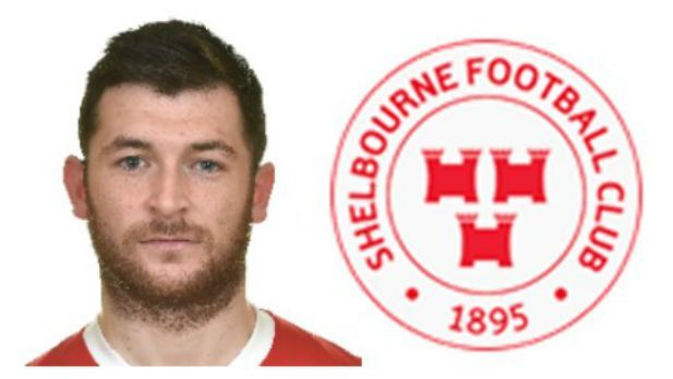 A graphic image of Ryan Brenna a player at Shelbourne FC with the crest of Shelbourne FC.