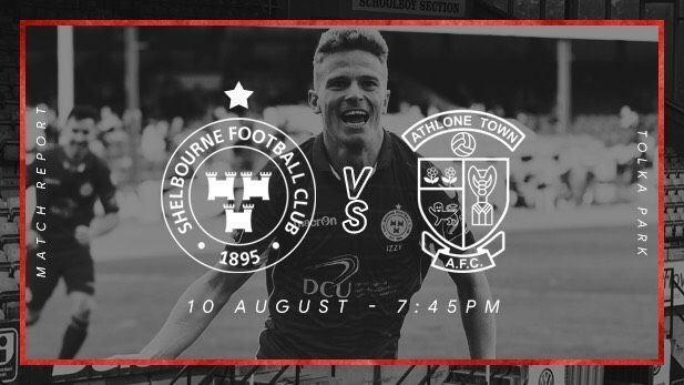 Graphic of Shelbourne FC and Athlone Town Club logos with a Shels mens team member celebrating on pitch in the background