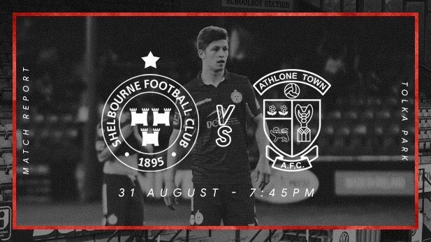 Graphic displaying the Shelbourne FC and Athlone Town club logos with a Shelbourne FC player on pitch in the background.