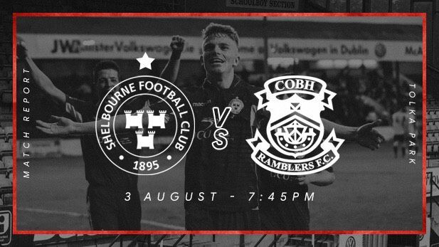Graphic displaying the Shelbourne FC and Cobh Ramblers club logos with a Shelbourne FC players celebrating on pitch in the background.