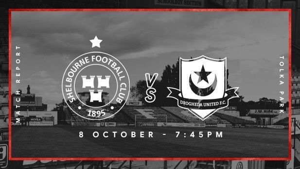 Graphic displaying the Shelbourne FC and Drogheda United club logos with a Shelbourne's homeground Tolka park in the background.