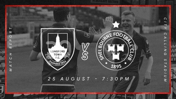 Graphic displaying the Shelbourne FC and Longford Town FC club logos with two Shelbourne FC players greeting each other on pitch in the background.