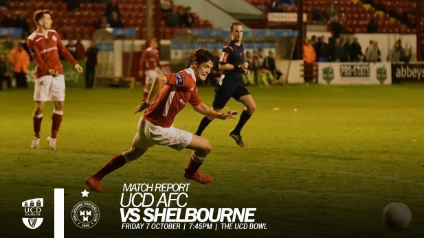 A graphic of UCD vs Shelbourne FC match report where a Shels player is playing football.