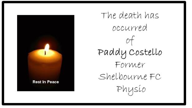 Graphic invitation for Paddy Costello's funeral