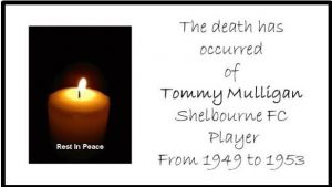 The death has occurred of our former player, Tommy Mulligan