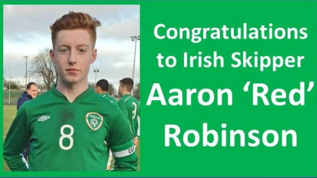 A graphic with Shelbourne FC's Under 19 player who captained the Irish team.