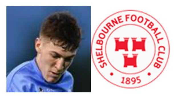 A graphic image of Sean Quinn the midfielder of Shelbourne FC with the crest of Shelbourne FC.