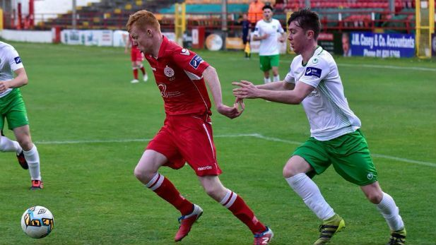International winger Shane Farell dribbling past players while playing for Shelbourne FC.