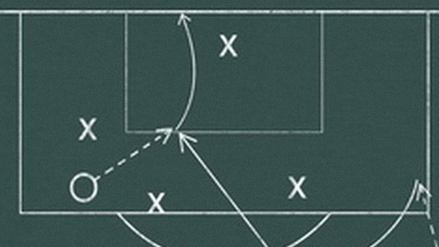 An image of strategy plan on a football field.