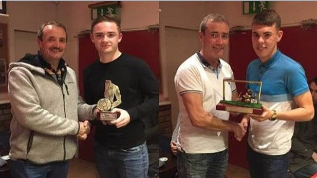An image of The Shelbourne Under 19s awards for Player of the Year were presented by the two legendary Geoghegan brothers, Stephen and Declan at Tolka Park