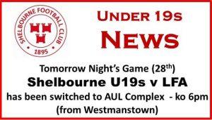 U19s v LFA – Venue Change