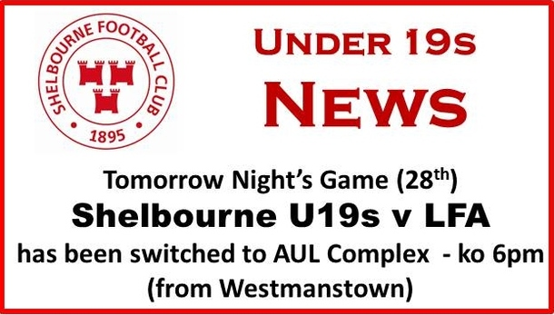 A graphic of information of venue change for the Shelbpurne U19 Match.