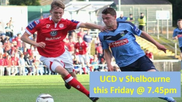An image of UCD player and Shelbourne FC playing football.