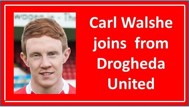 An image of Carl Walsh who has resigned for Shelbourne FC from Drogheda United.