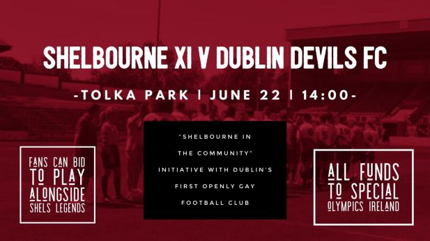 "Shelbourne XI versus Dublin Devils in Tolka Park June 2019 as part of Shelbourne's ""Shels in the community"" initiative"