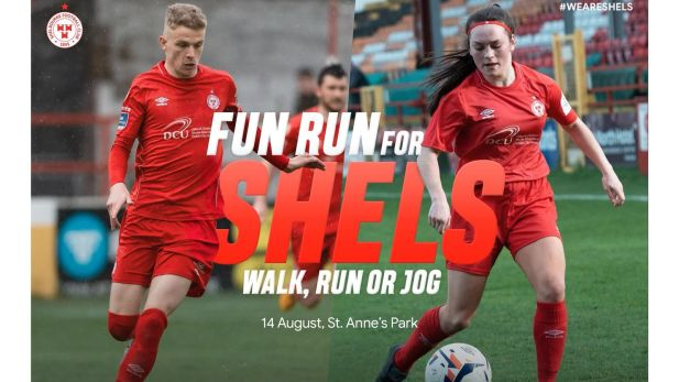 image displaying information for a charity event, Fun Run for Shels in support of Shelbourne football club