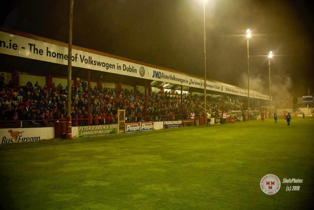 Shelbourne FC Tolka Park stadium view of football pitch