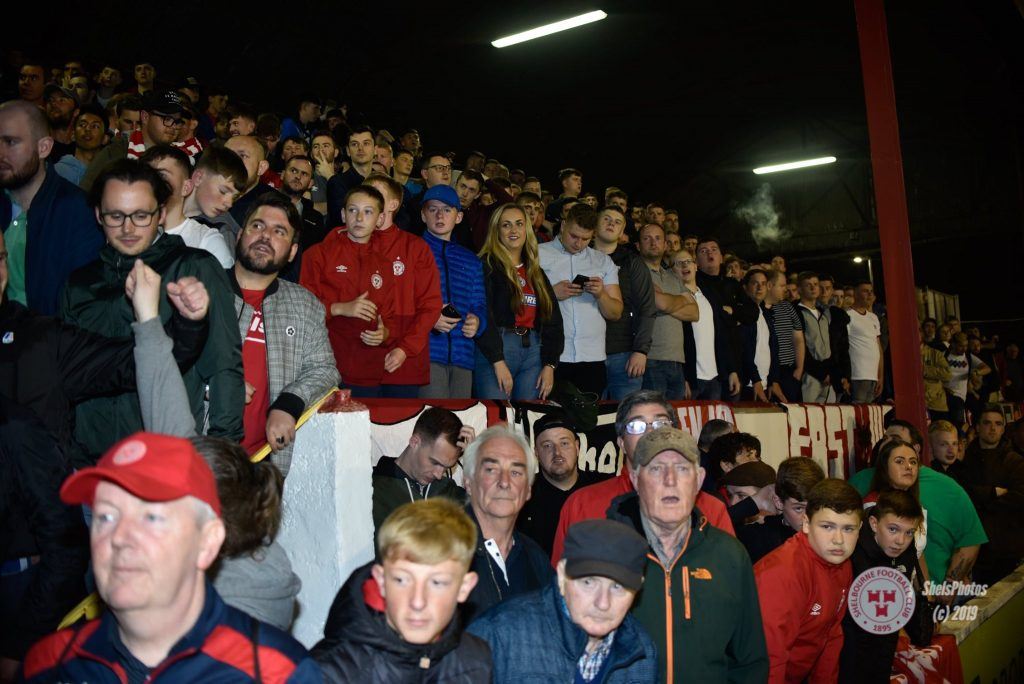 Image of Shelbourne football club fans watching a home match