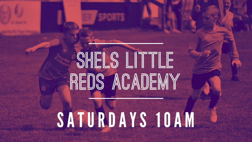 Image promoting the Shelbourne football club junior academy, Little reds academy open Saturdays at 10am