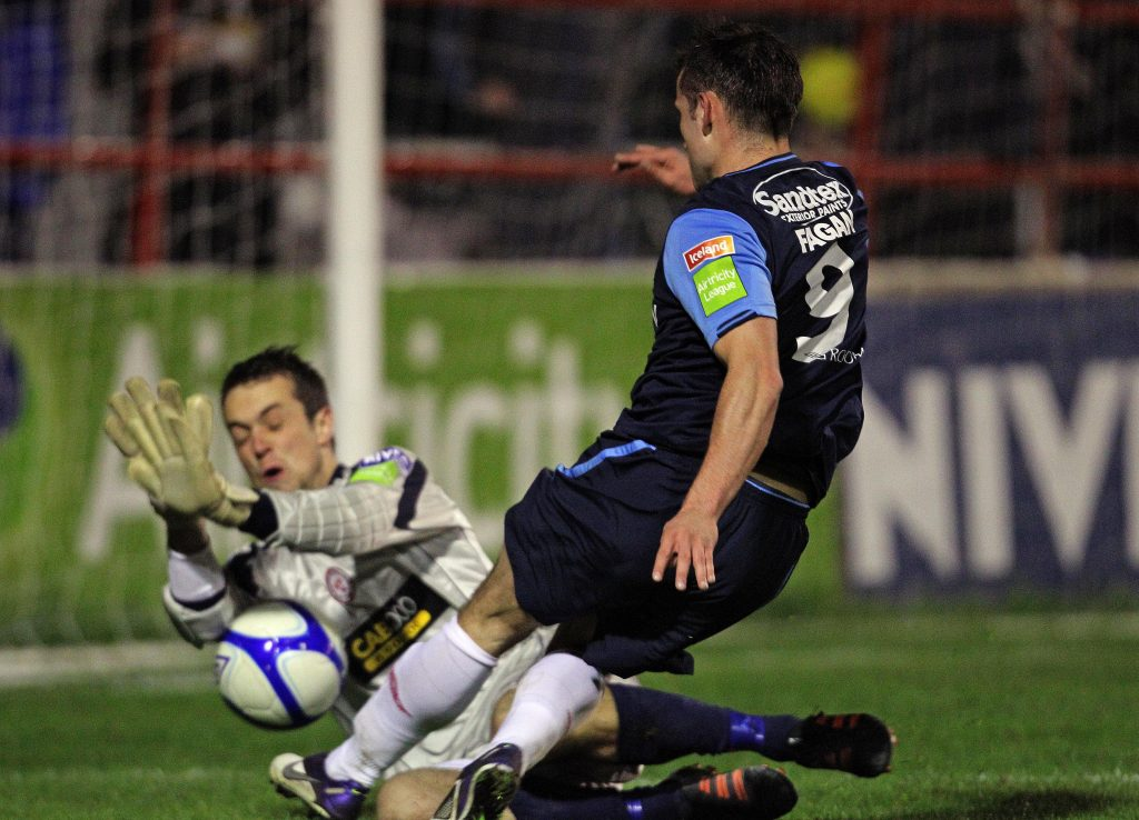 Paul Skinner makes a save for Shelbourne football club