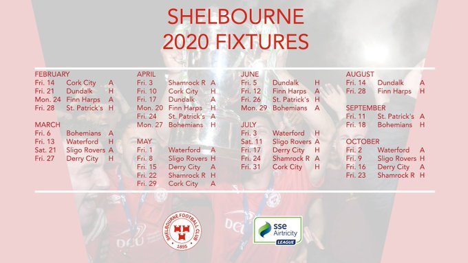 image of Shelbourne football club SSE Airtricity League fixtures for 2020
