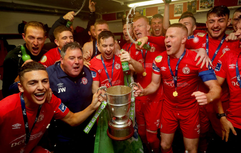 Shelbourne Football Club celebrate winning the 1st Division securing promotion to Airtricity league