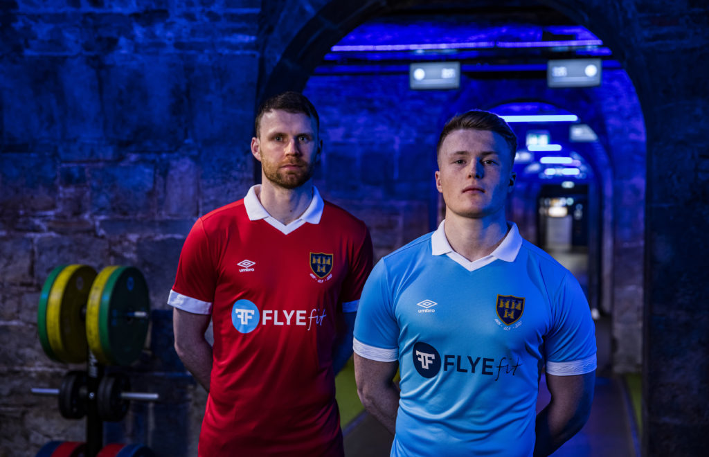 Ciaran Kilduff on left and Daniel O'Reilly on right in the new jerseys with Flyefit as the headline